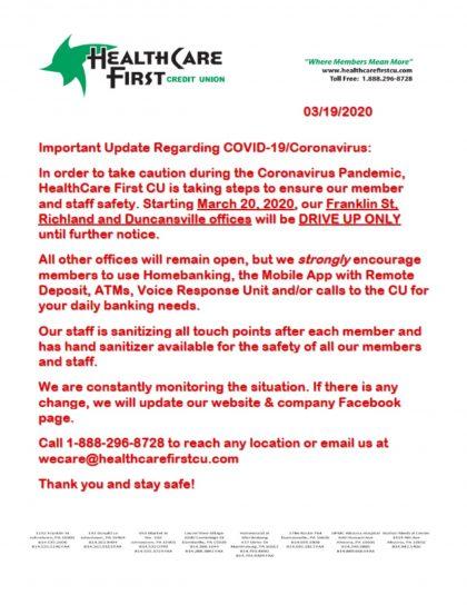 COVID-19/Coronavirus Statement