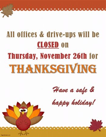 Thanksgiving Closing